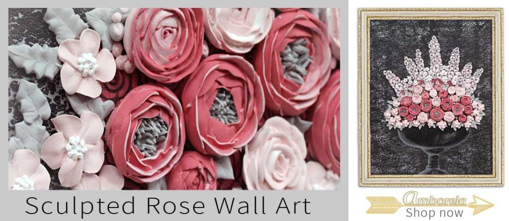 Nursery wall art with sculpted roses
