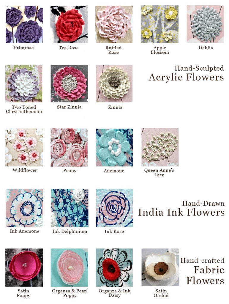 Samples of the 3d flower styles to choose from for your custom Amborela painting