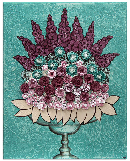 Canvas wall art with teal and wine sculpted flower still life