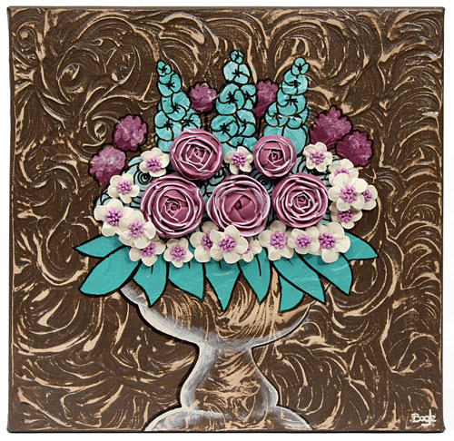 small textured canvas art of teal and brown floral still life