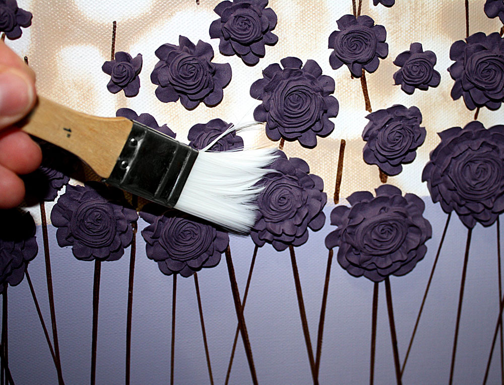 Example of dusting textured artwork with a soft brush