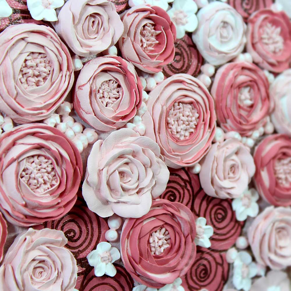 Examples of the new sculpted peony and rose flowers