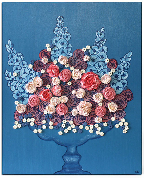 Floral still life wall art in blue with pink sculpted roses