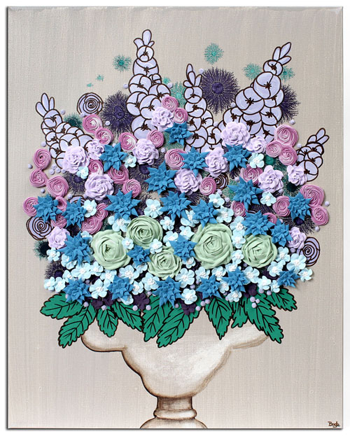 Floral still life in brown with blue and purple sculpted flowers