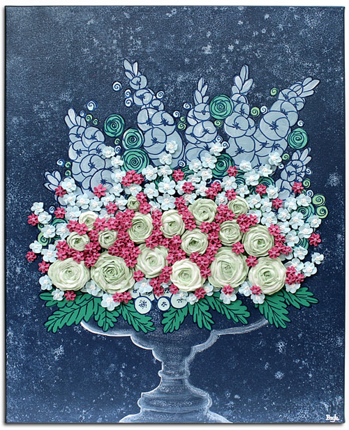 Floral still life art in indigo with pink and mint sculpted flowers