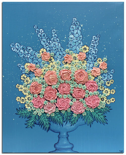 Floral still life painting in blue with peach sculpted flowers
