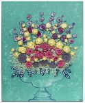 Floral still life in teal with pink and yellow sculpted flowers