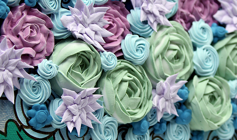 Sculpted Roses in Green and Purple