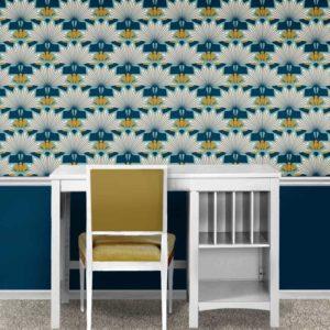 Fabric & Wallpaper: Art Deco Starburst Floral Scallop in Indigo