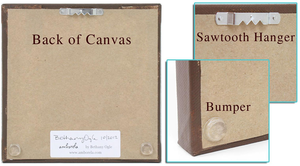 Back view of canvas art labeling sawtooth hanger, bumpers, and paper backing