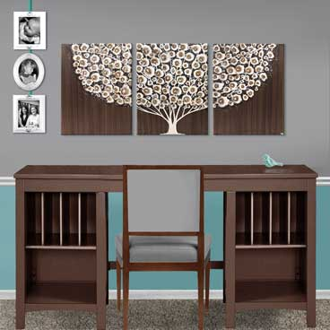 Large painting of brown tree over desk