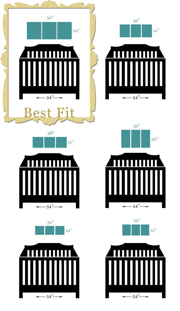 Scale diagram of canvas art sizes that fit best hanging above a crib