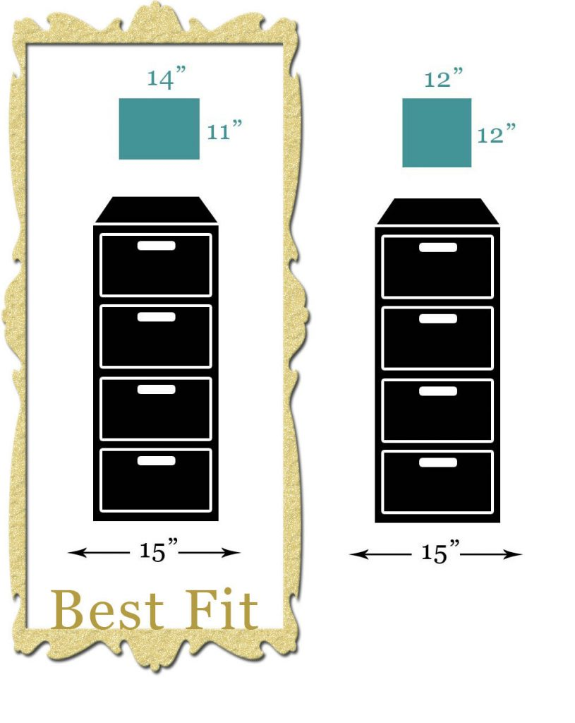 Scale diagram of canvas art sizes that fit best hanging above a tall filing cabinet
