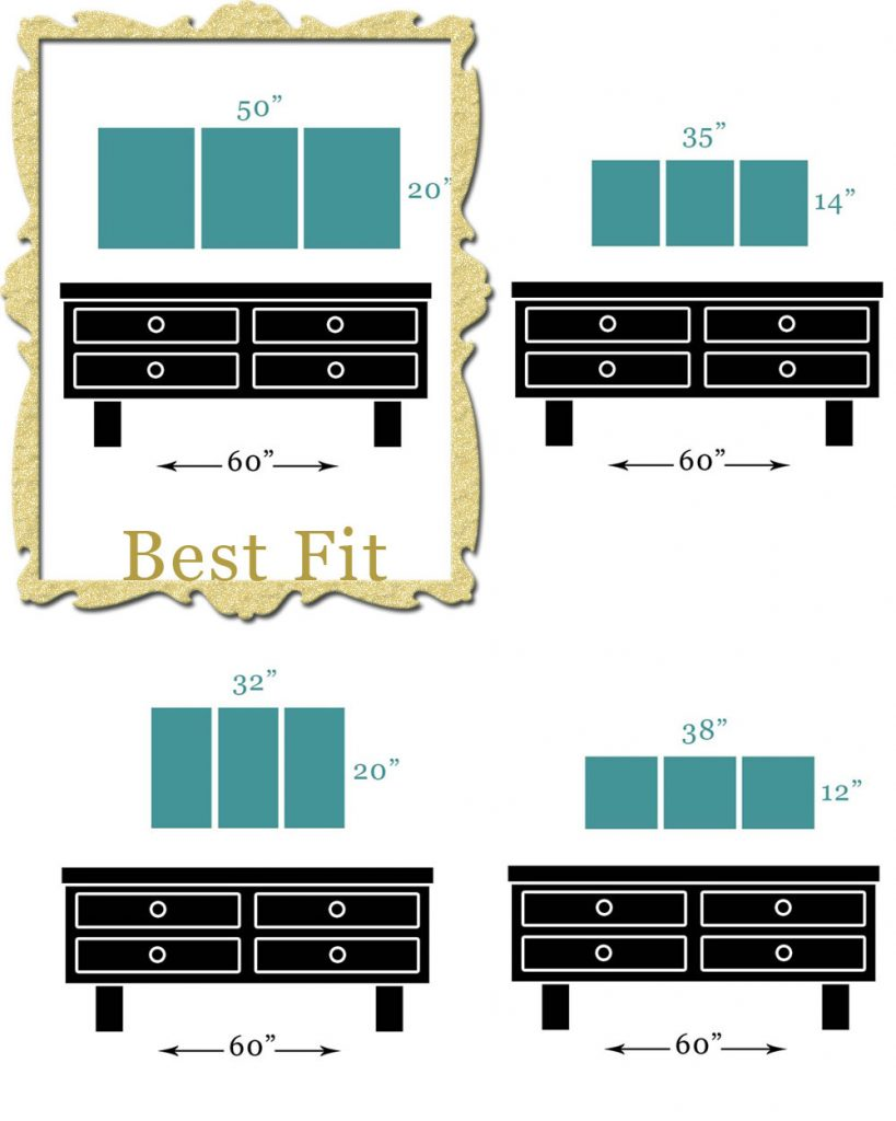 Scale diagram of canvas art sizes that fit best hanging above a wide dresser
