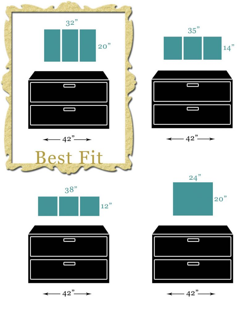 Scale diagram of canvas art sizes that fit best hanging above a double filing cabinet