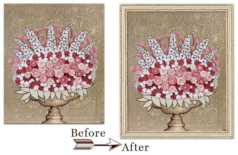 Example comparing canvas art with and without a frame before versus after