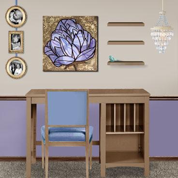 Wall art painting of violet purple flower gem