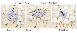 Diagram of set of three flower painting with parts labeled that can have custom colors