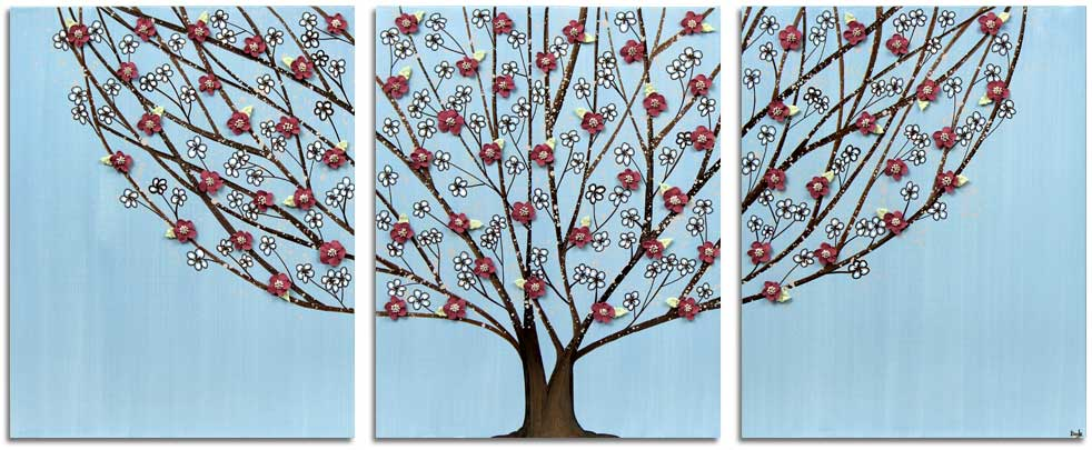 Wall art of flowering tree in blue and brown