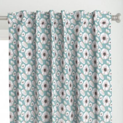 Curtains in teal and pink floral