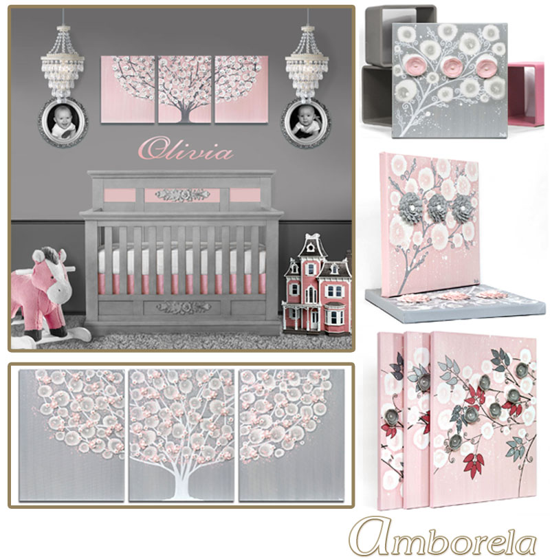 Collection of gray and pink nursery art
