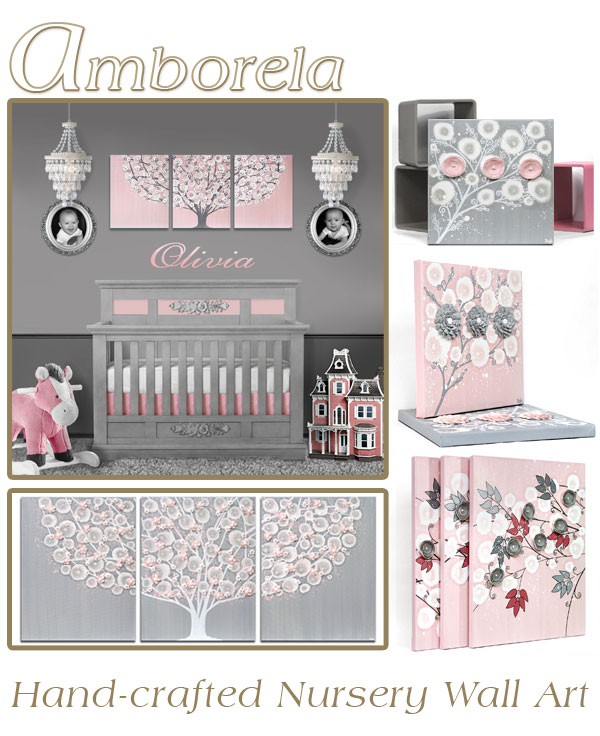 Collection of Amborela wall art in gray and pink for nursery color scheme idea