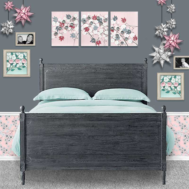 Setting view of nursery art pink and gray flowers