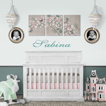 French gray and pink climbing rose nursery painting