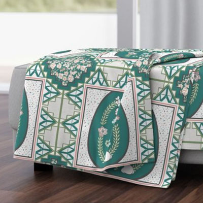 Throw blanket of teal patchwork quilt
