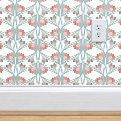Wallpaper in pink and French gray herringbone with crocus