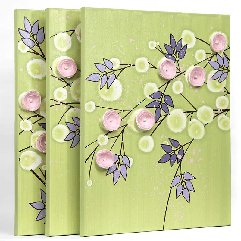 Side view of nursery art green pink climbing flowers