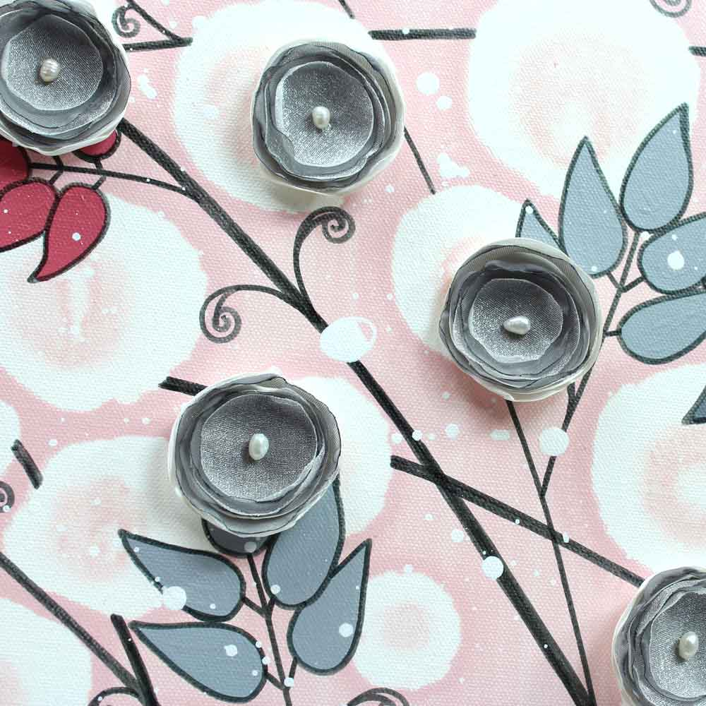 Center view of nursery art pink and gray flowers