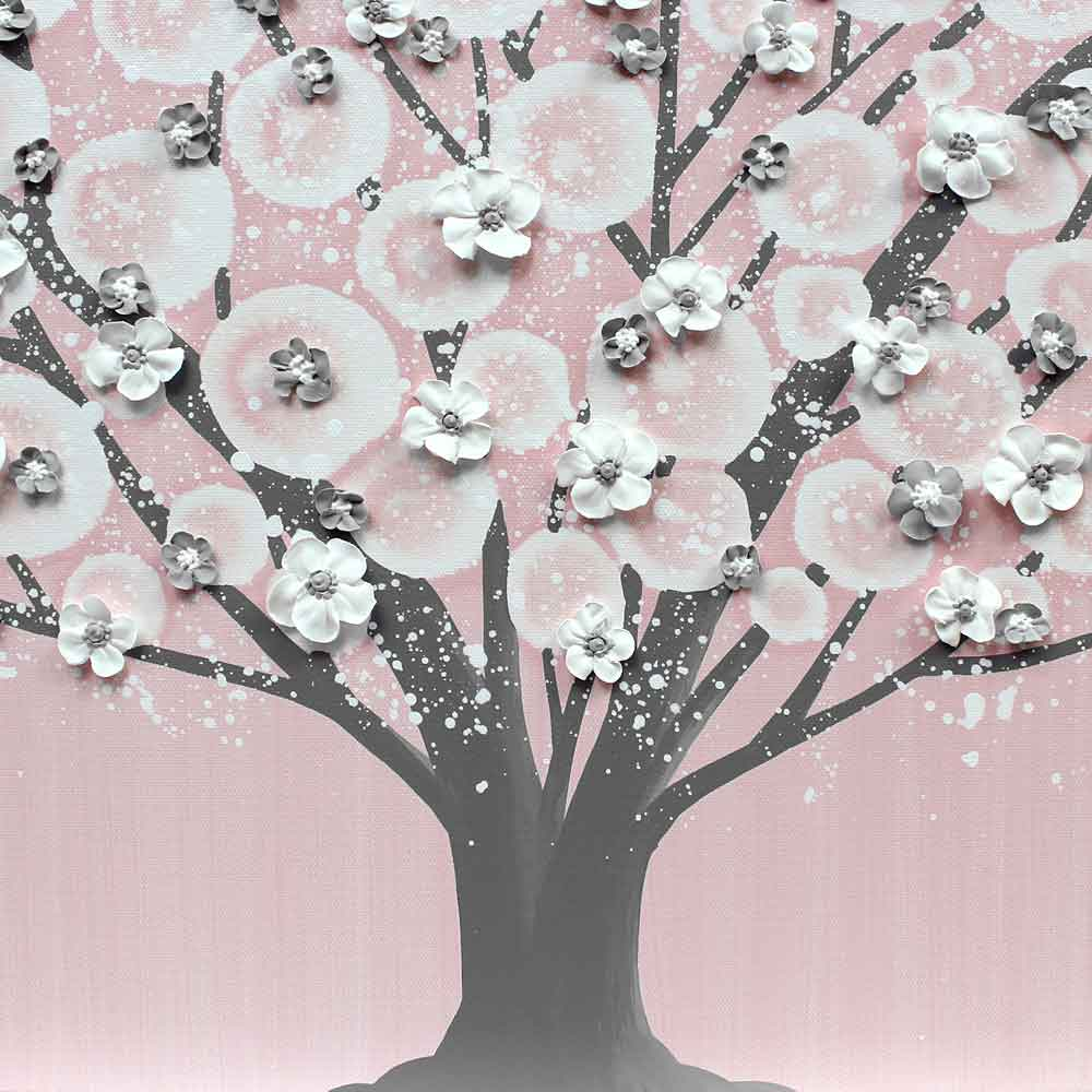 Center view of nursery canvas art pink and gray tree