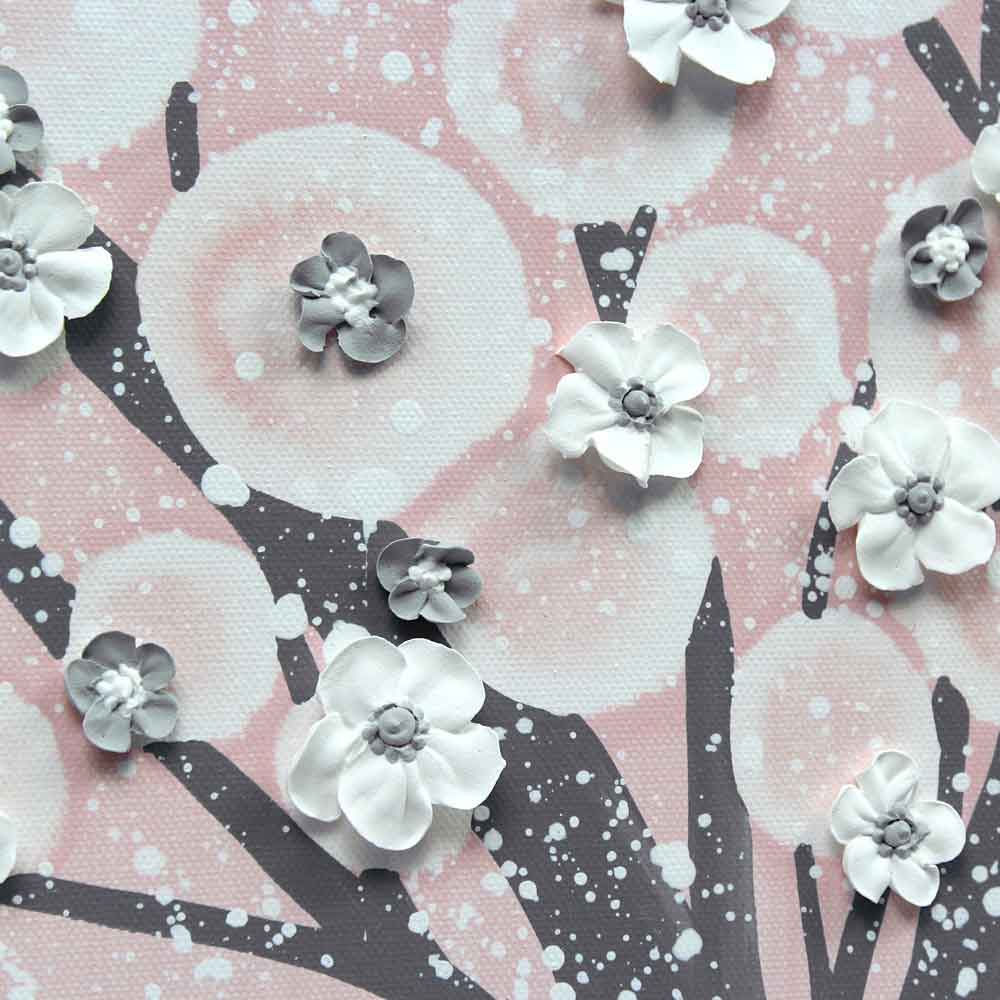 Close up of nursery canvas art pink and gray tree