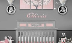 Size guide for large pink tree painting above crib