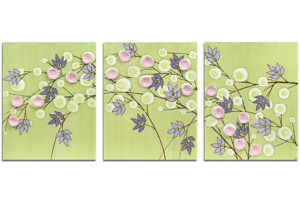 Nursery wall art of green and pink flowers