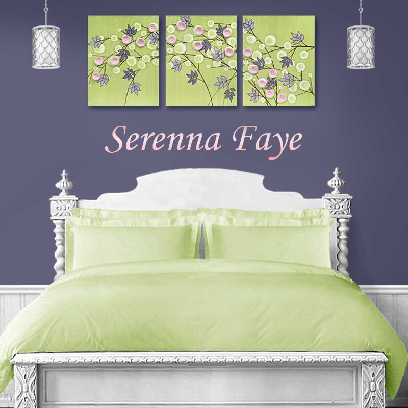 Flower Nursery Wall Art on Canvas in Green and Pink - Large | Amborela