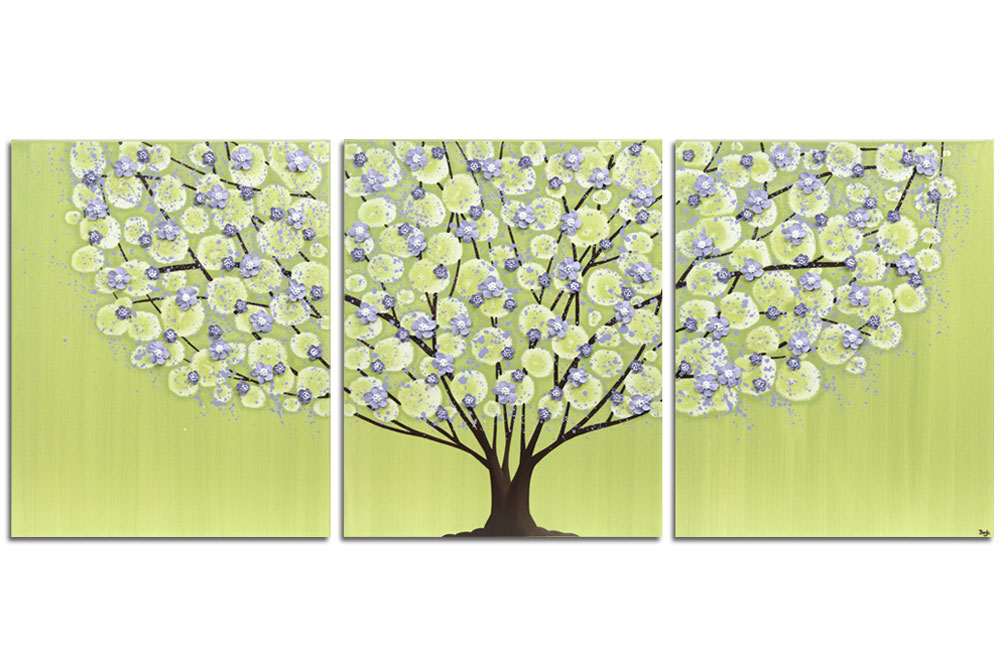 Nursery wall art of green and purple tree