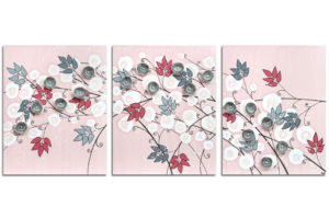 Nursery wall art of pink and gray flowers