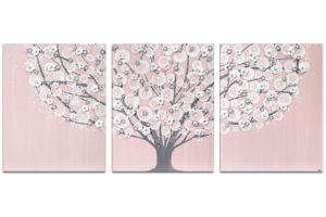 Nursery wall art of pink and gray tree