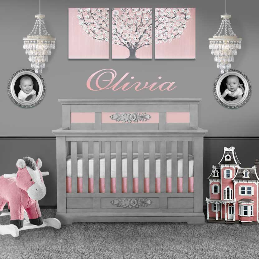 Setting view of nursery wall art pink and gray tree