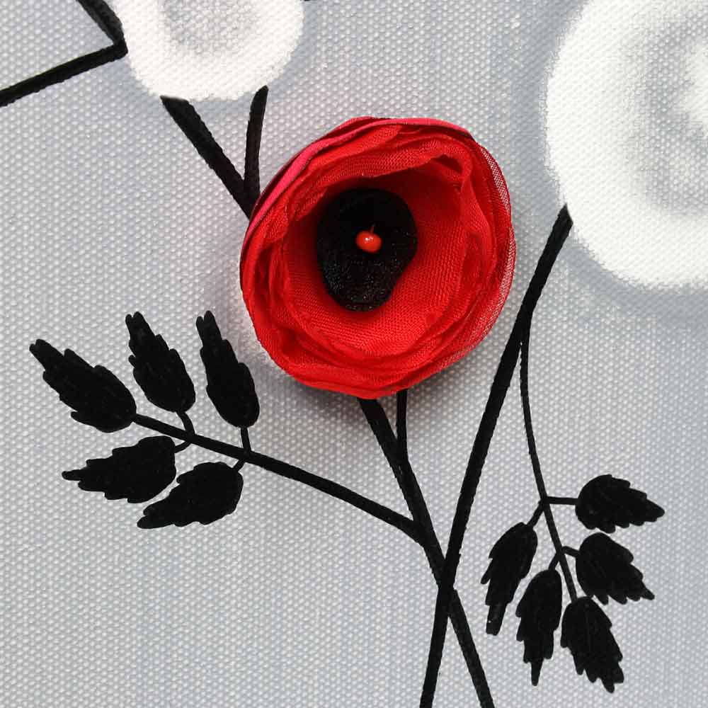 Center view of wall art gray and red climbing flowers