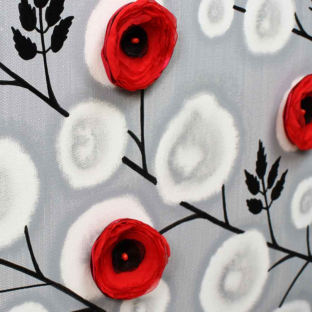 close up of wall art gray and red climbing flowers