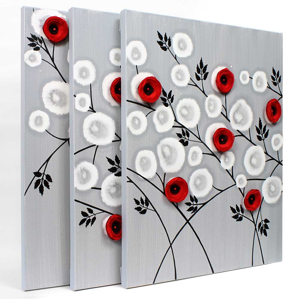 side view of wall art gray and red climbing flowers