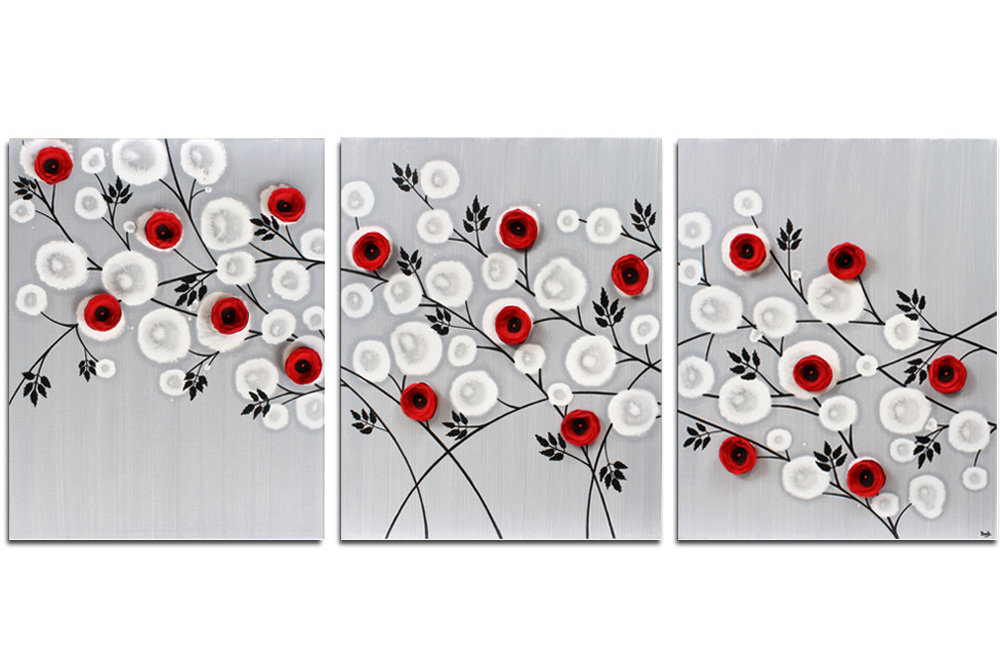 Wall art of gray and red climbing roses