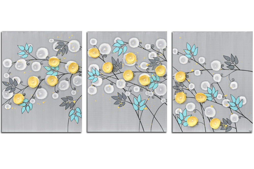 Gray Aqua Yellow Wall Art Painting Of Flowers On 3