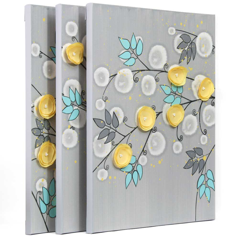 Yellow Wall Art Gray And Yellow Wall Art Painting Of Flowers On Canvas  Large