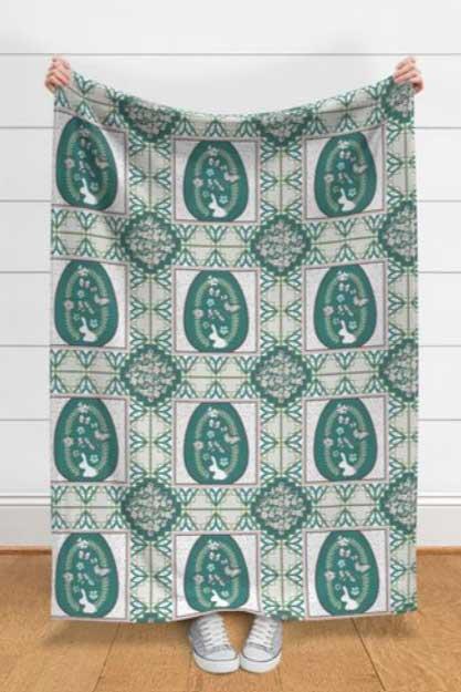 Blanket of teal bunny quilt
