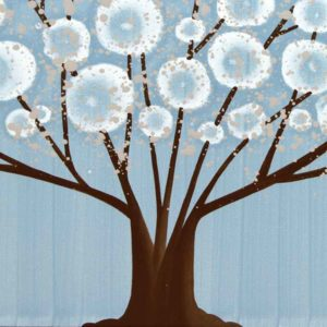 Wall Art Canvas Painting of Tree in Blue and Brown | Large – Extra Large