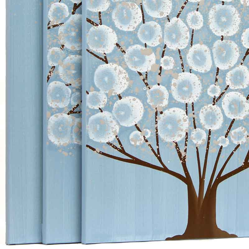 Side view of canvas art blue and brown tree